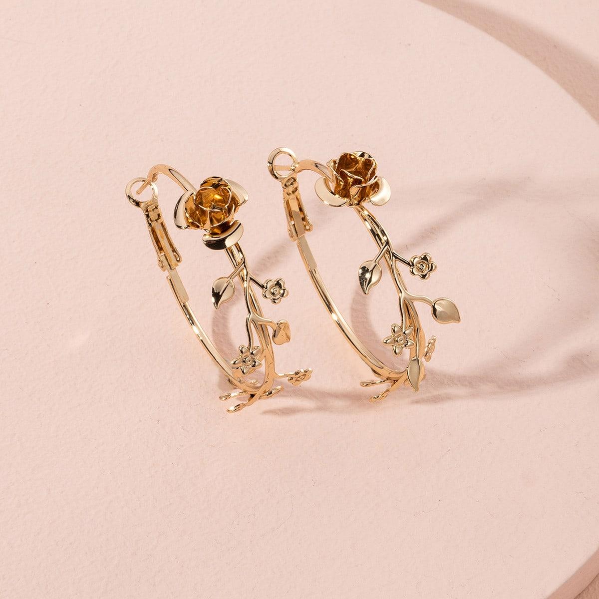 Серьги-кольца в форме цветка