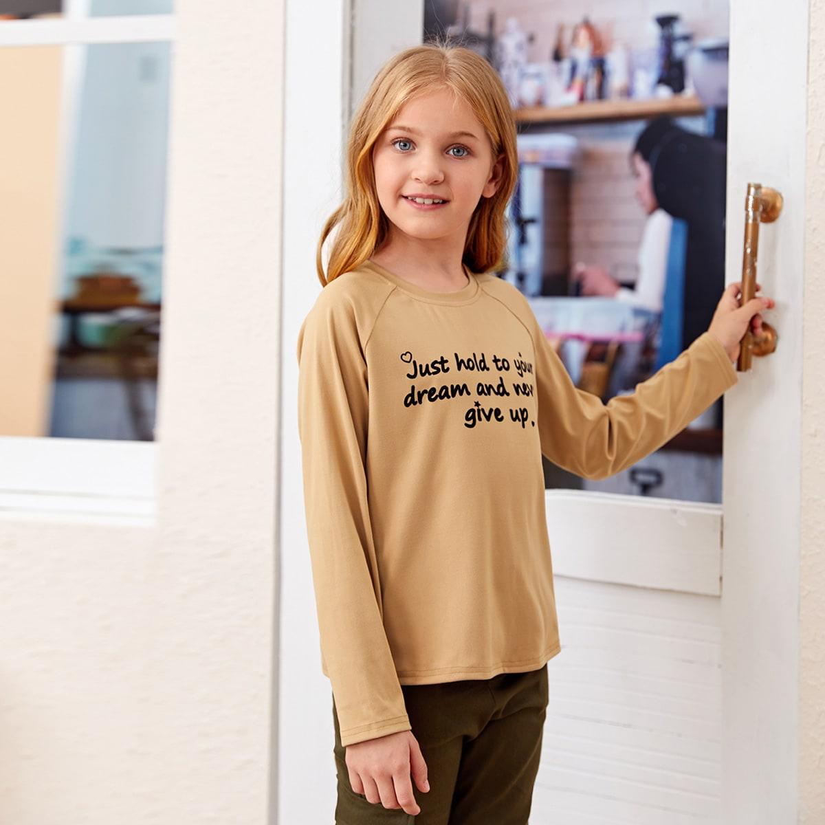 Лозунг повседневный футболки для девочек