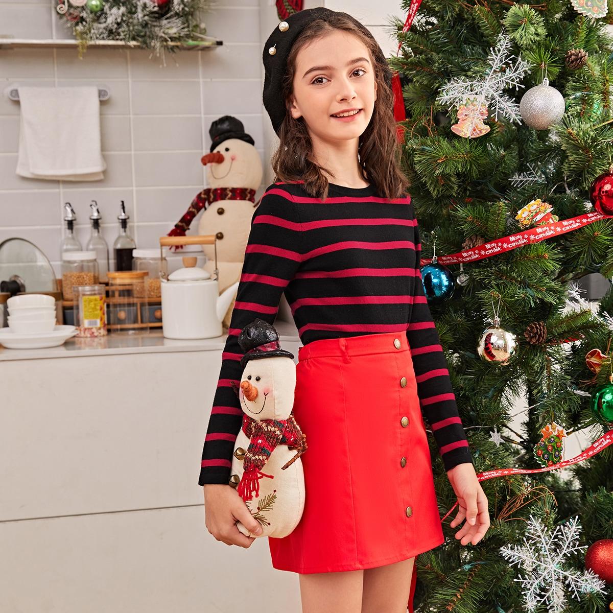 1шт контрастный свитер в полоску для девочек