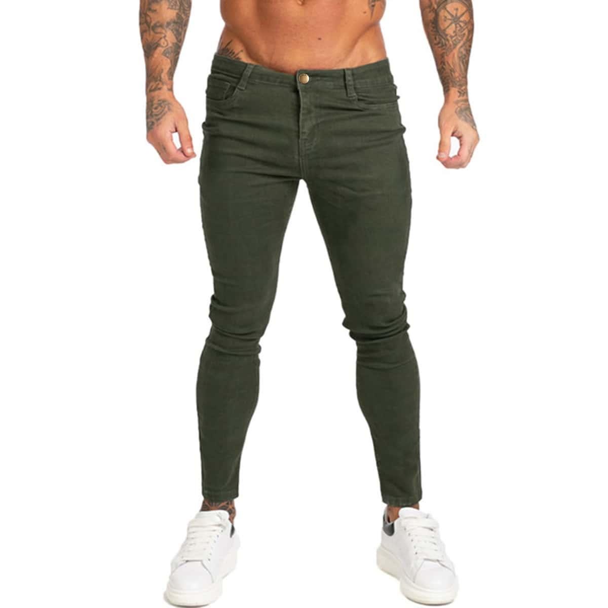 Застежка одноцветный повседневный мужские джинсы