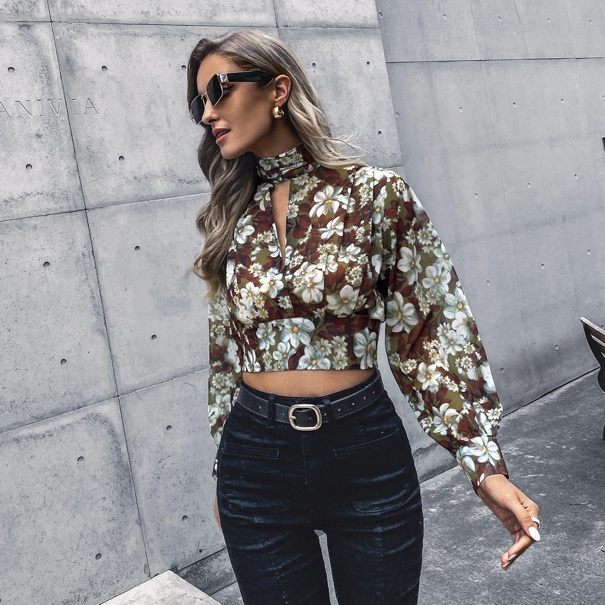 Кроп блузка с цветочным принтом