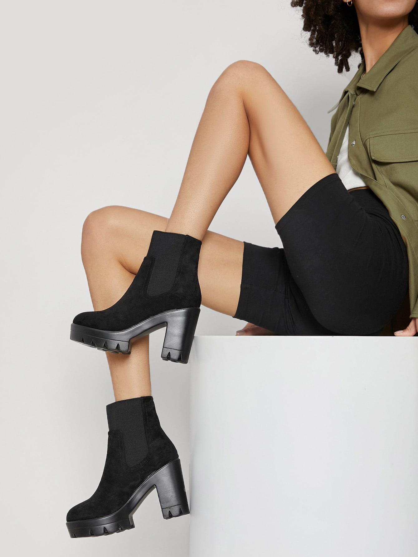 Faux Suede Lug Sole Platform Chelsea Boots