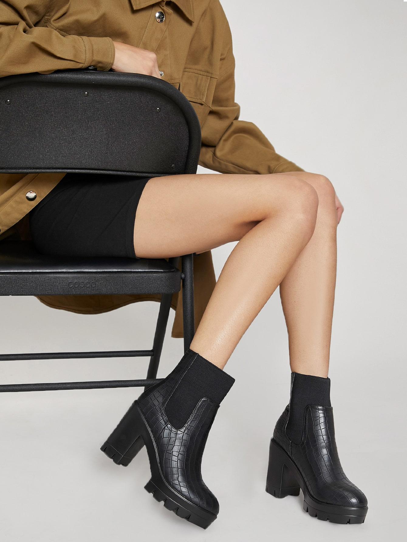 Faux Croc Leather High Heel Platform Boots