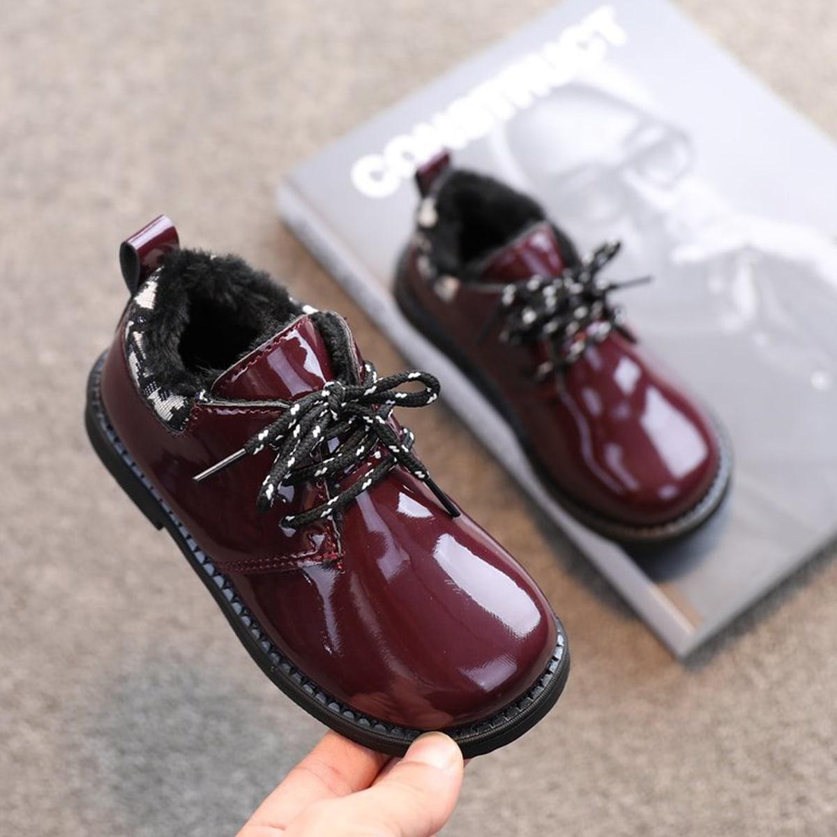 Балетки на шнурках с плюшевой подкладкой для девочек