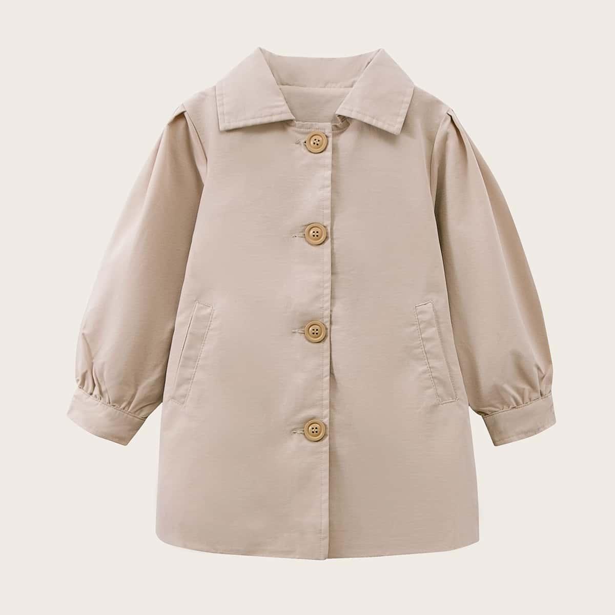 С поясом одноцветный повседневный пальто для маленьких девочек