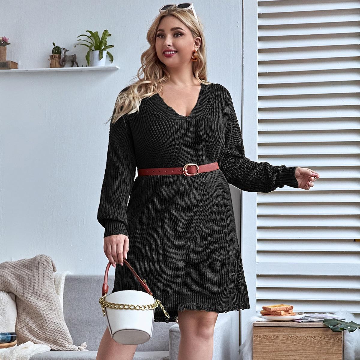 Трикотажное платье размера плюс с v-образным вырезом без пояса