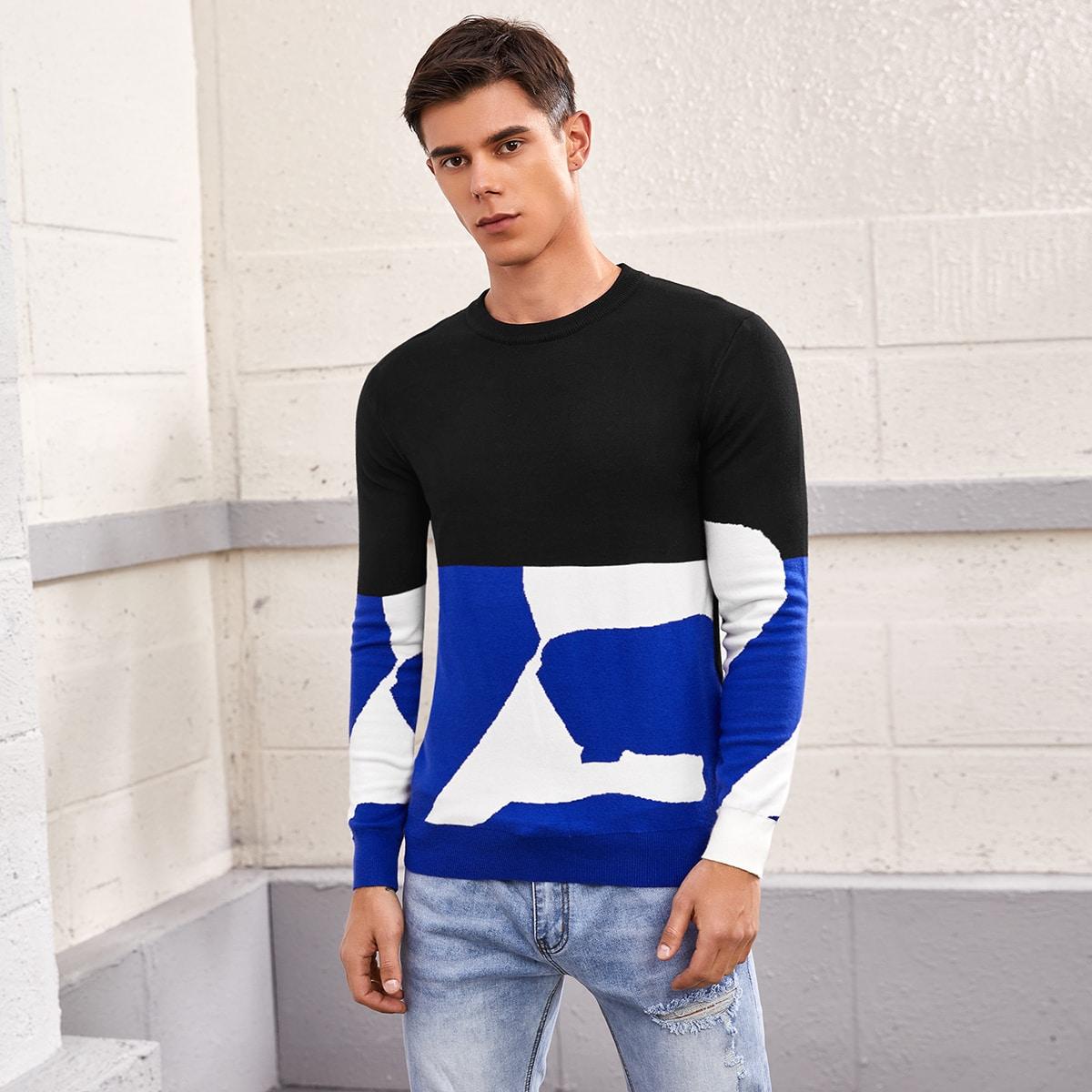 Мужской контрастный свитер