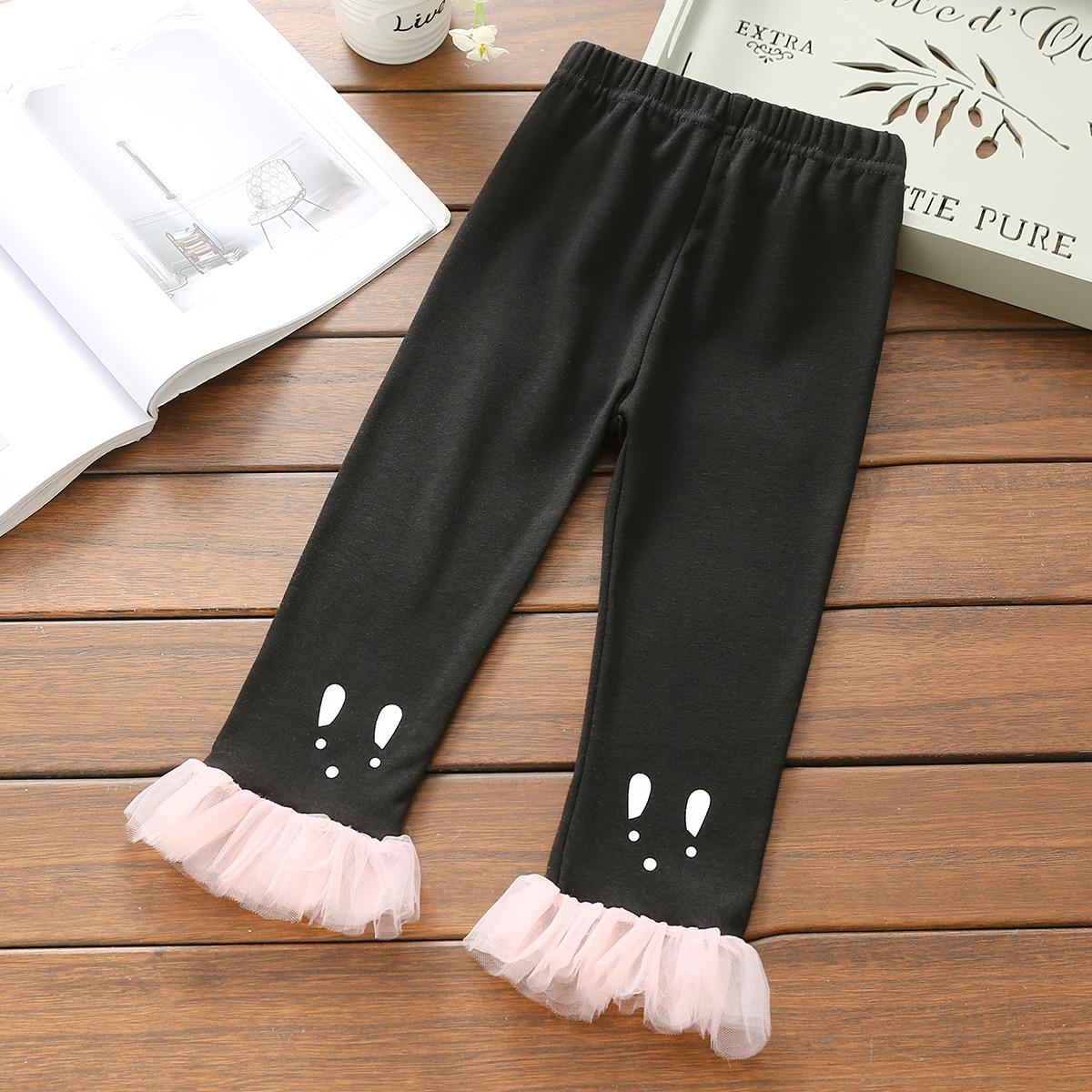 С оборками графический принт повседневный брюки для маленьких девочек