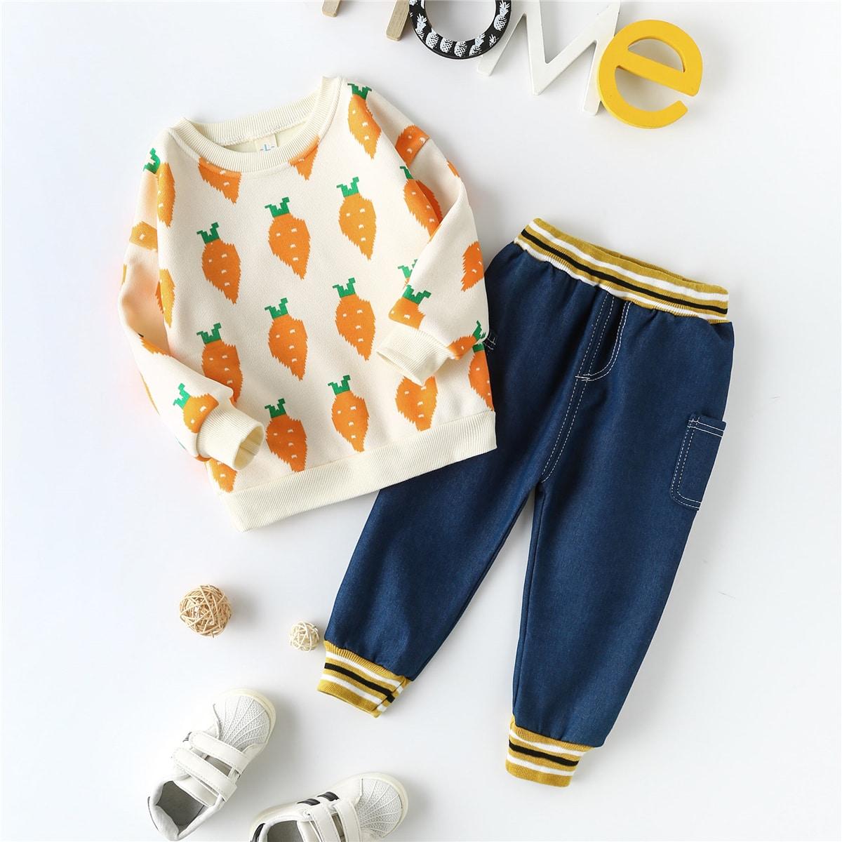 Карман полосатый повседневный комплект из двух предметов для девочек