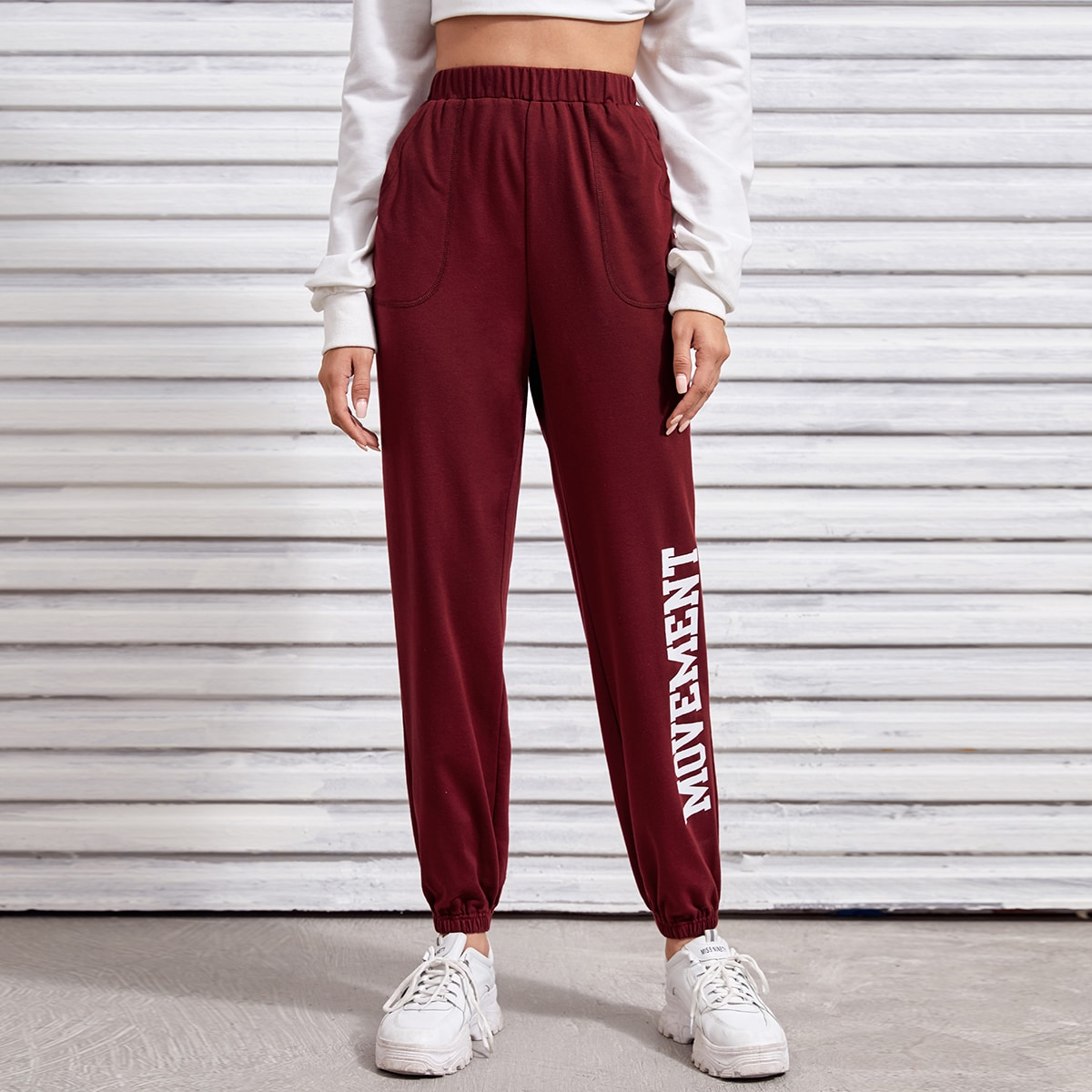 Letter Graphic High Waist Sweatpants