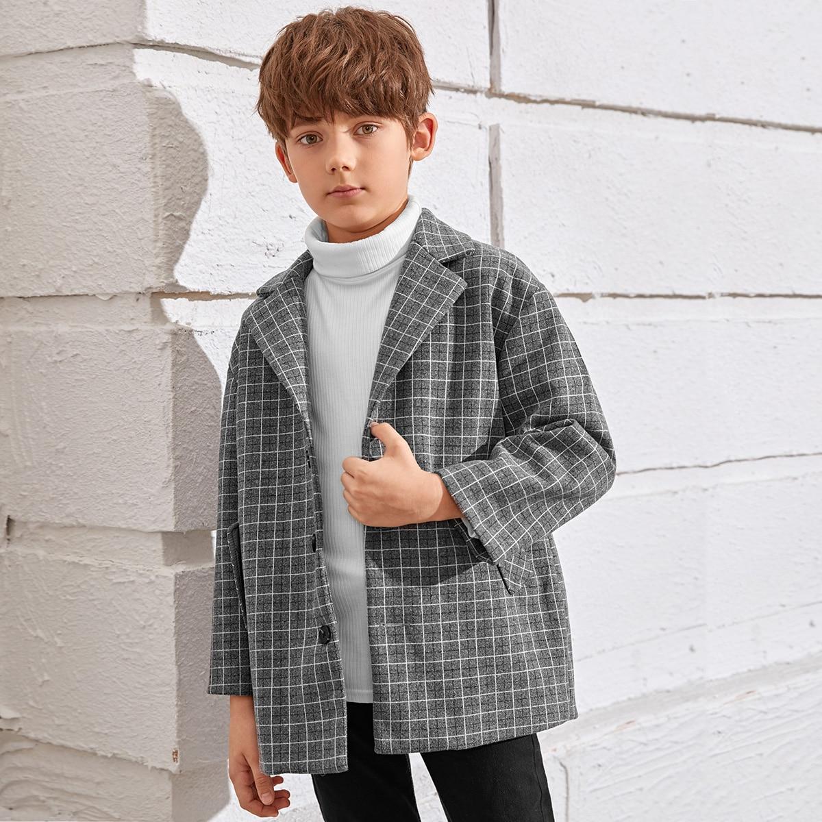 Drop Shoulder einreihiger Mantel mit Karo Muster