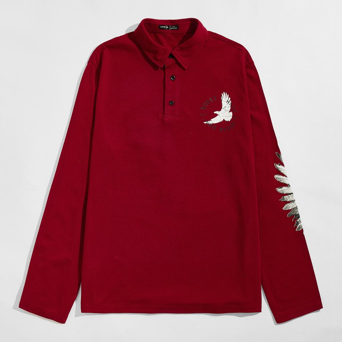 Пуговица животный повседневный мужская рубашка-поло