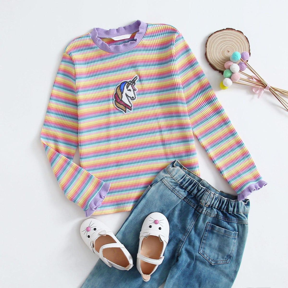 Оборка с карикатурой милый футболки для девочек