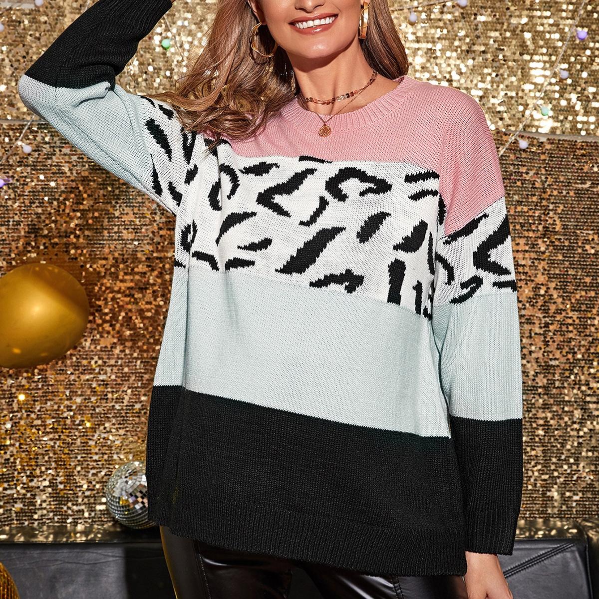 Контрастный свитер с леопардовым принтом для беременных