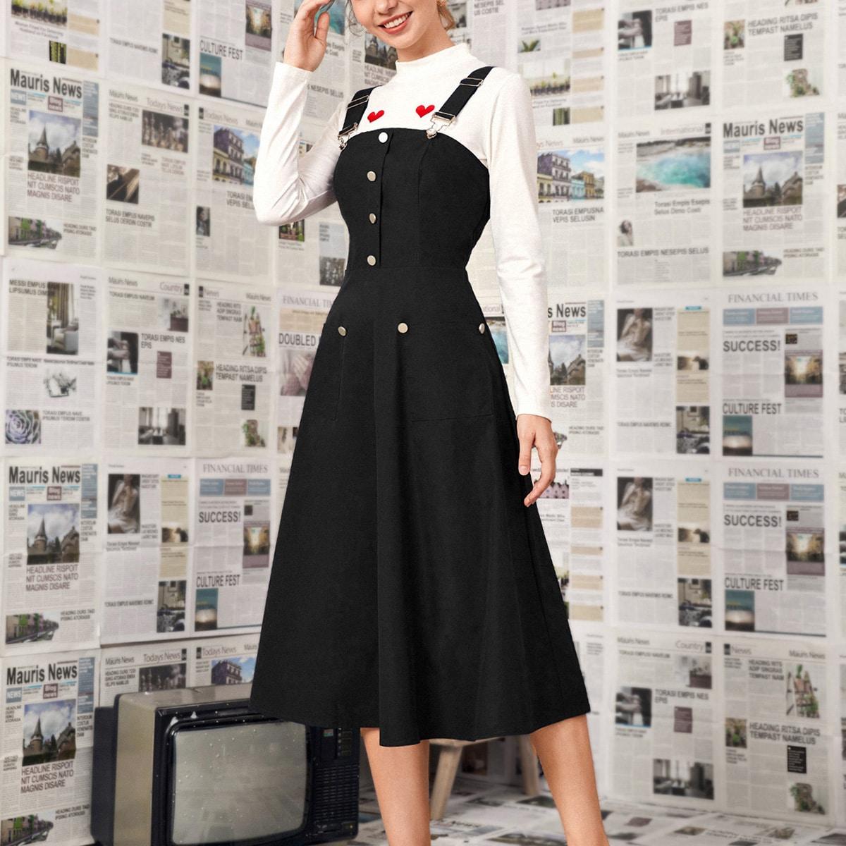 Платье-сарафан с пуговицами и карманом
