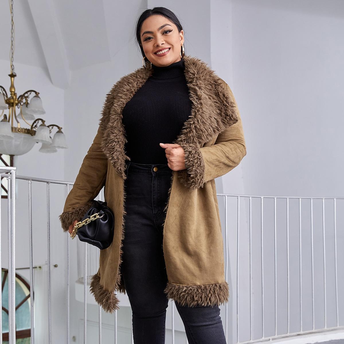 Пальто размера плюс из искусственной овечьей шерсти