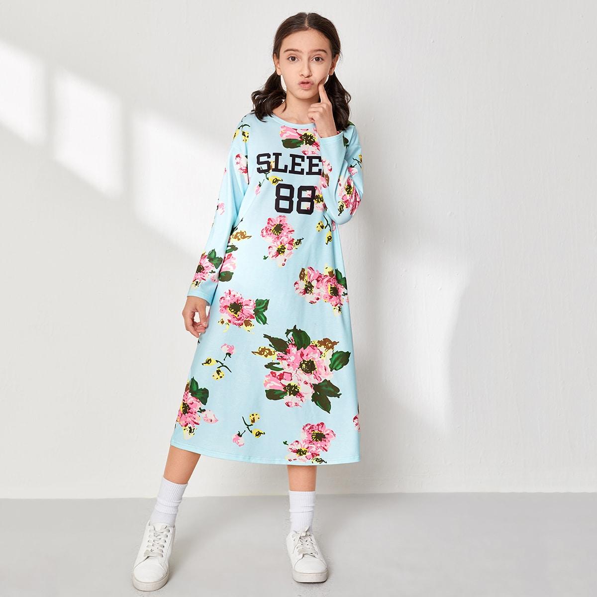 Ночная рубашка с оригинальным принтом для девочек