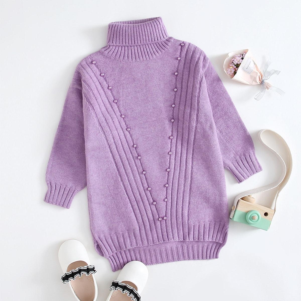 С жемчугом одноцветный повседневный трикотажные платья для девочек