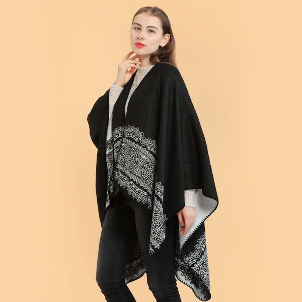 Geometric Pattern Scarf, Black and white