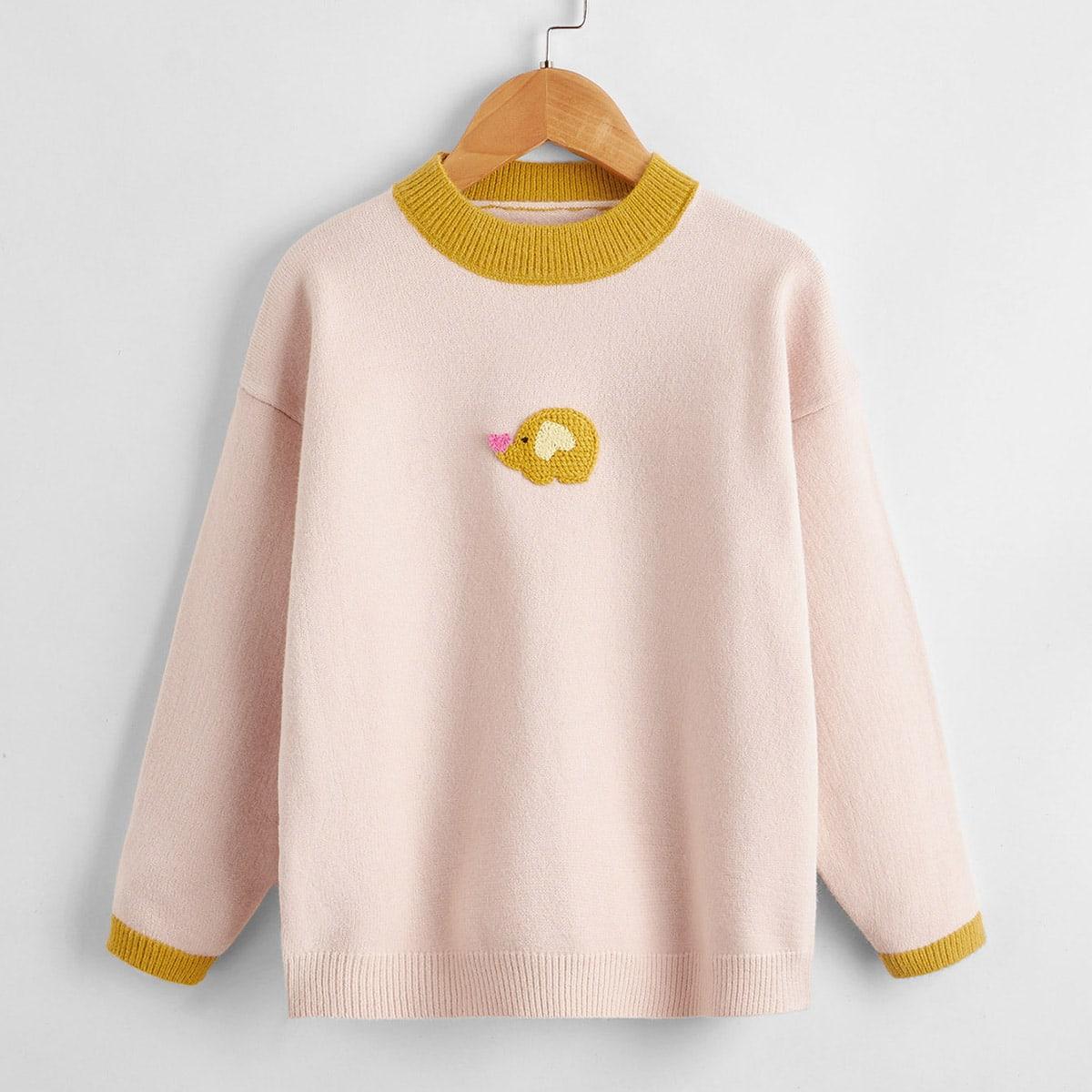 С вышивкой с карикатурой повседневный свитера для девочек