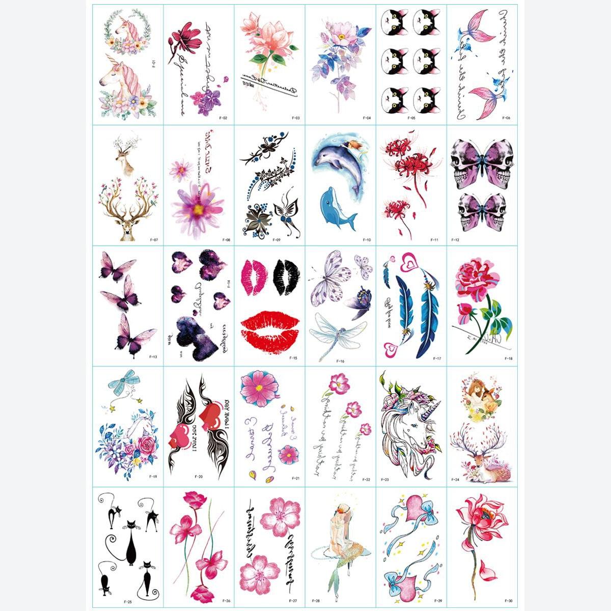 30 листов стикер татуировки с цветочным рисунком и бабочкой
