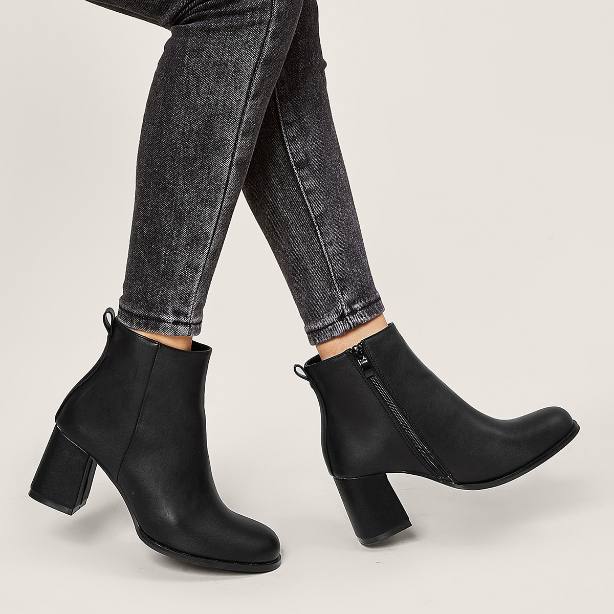 Side Zip Chunky Heeled Ankle Boots