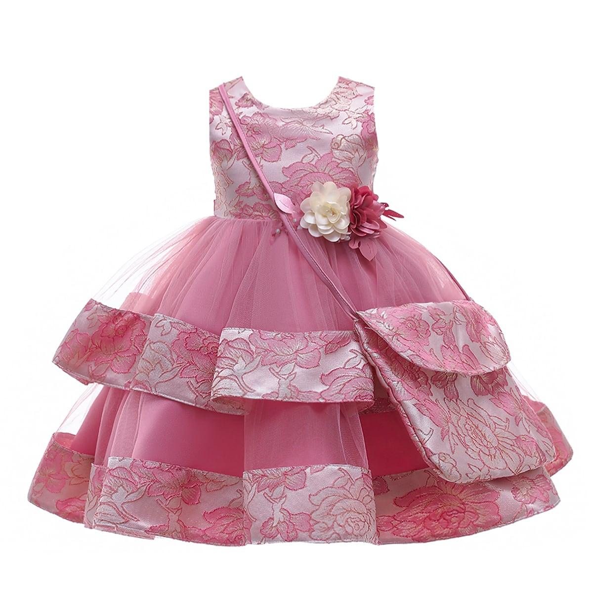 С аппликацией цветочный принт очаровательный нарядное платье для девочек