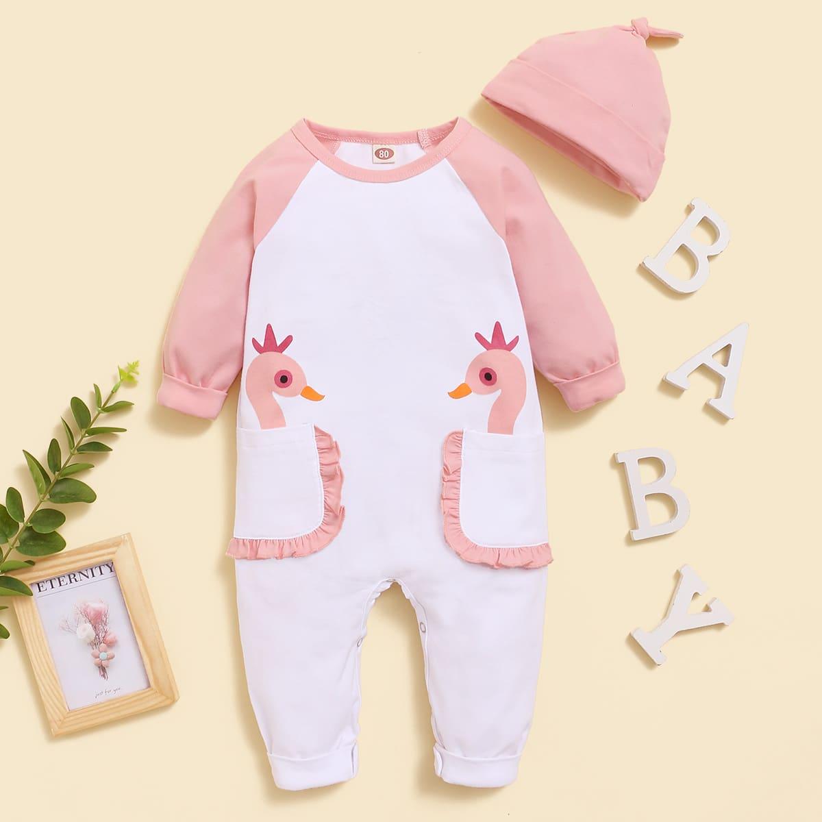 С карманами мультяшный принт повседневный комбинезоны для малышей