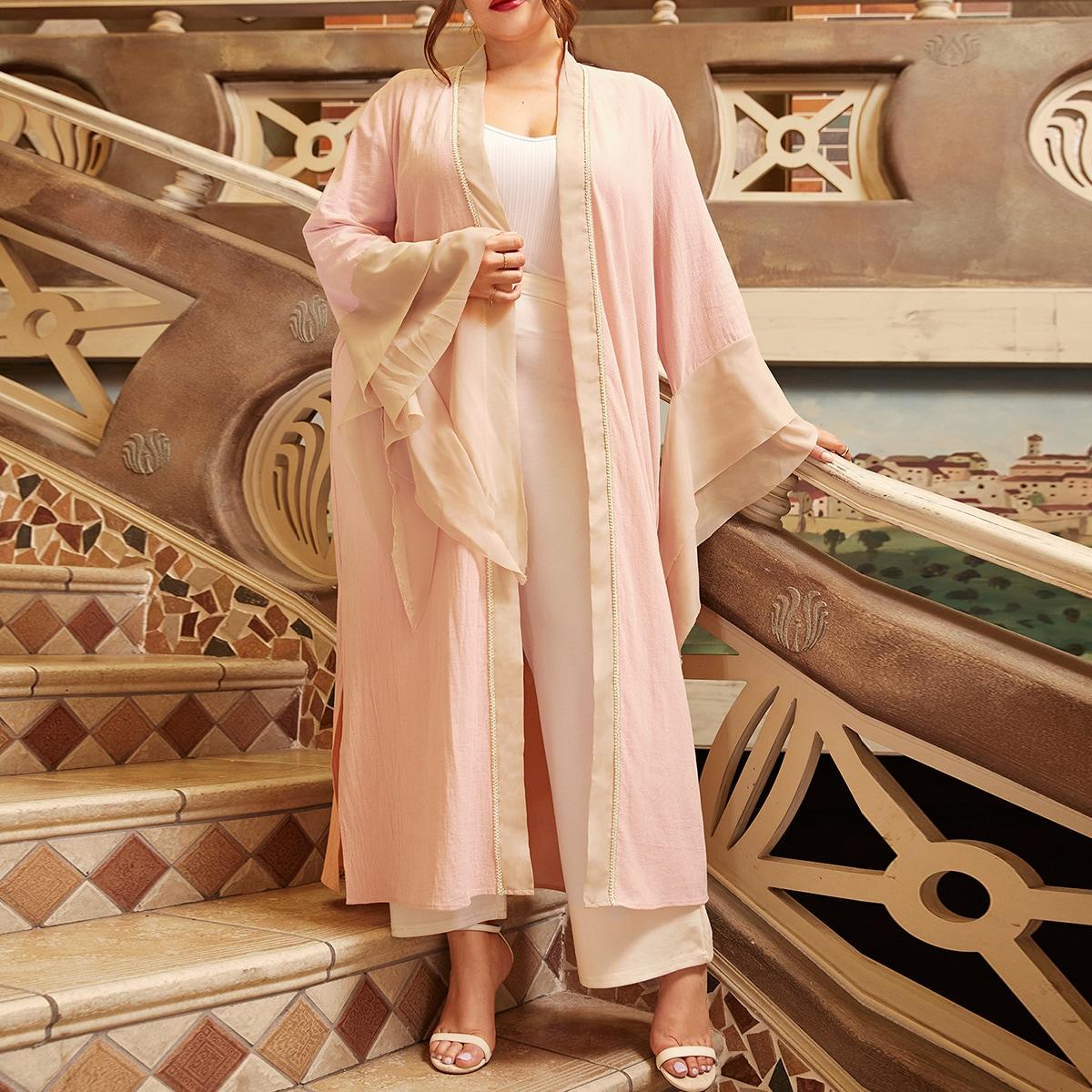 Разрез контрастный цвет скромный кимоно размер плюс
