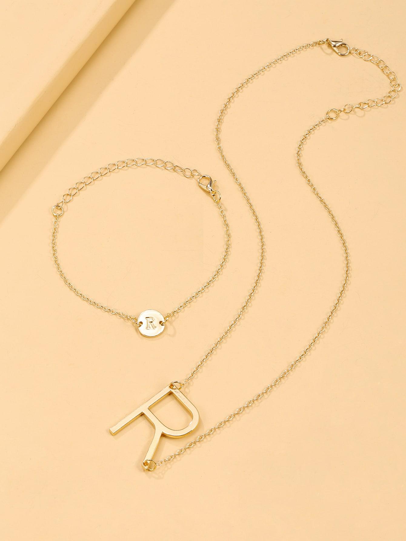 Letter Decor Necklace & Bracelet thumbnail