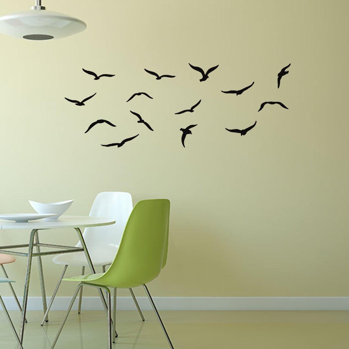 Наклейка на стену с принтом птицы