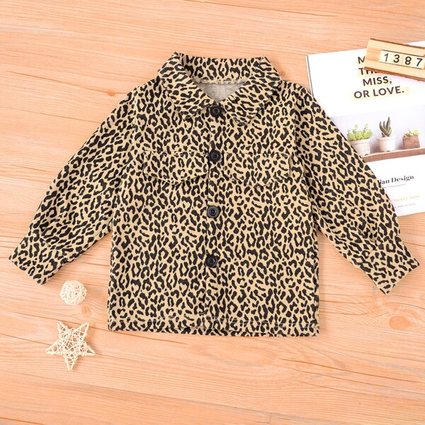 Toddler Girls Allover Print Button Up Coat, Multicolor