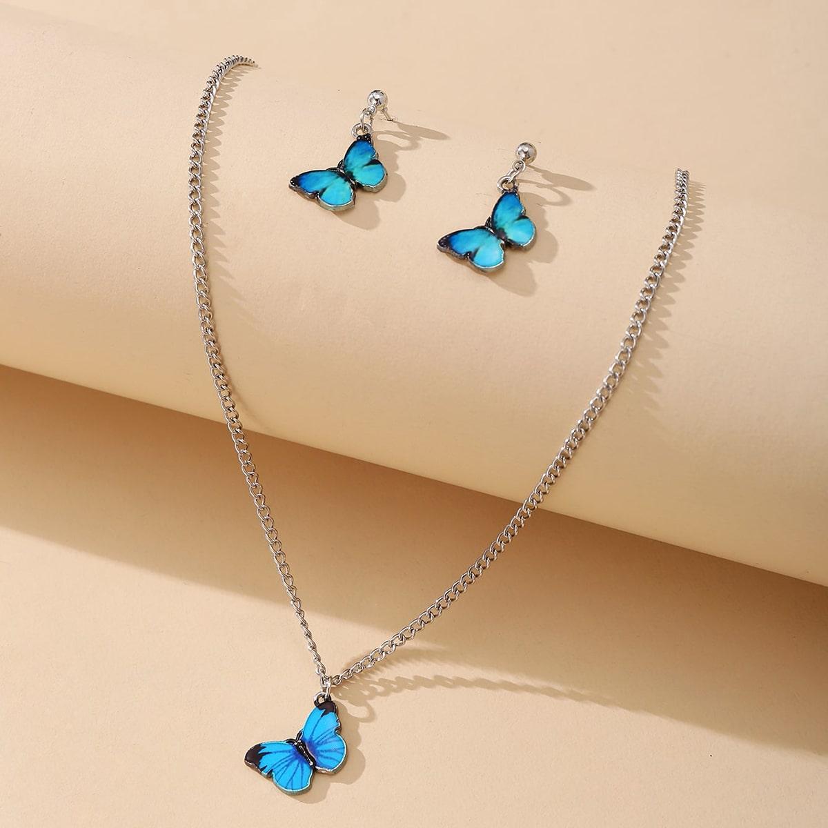 Ожерелье и серьги в форме бабочки