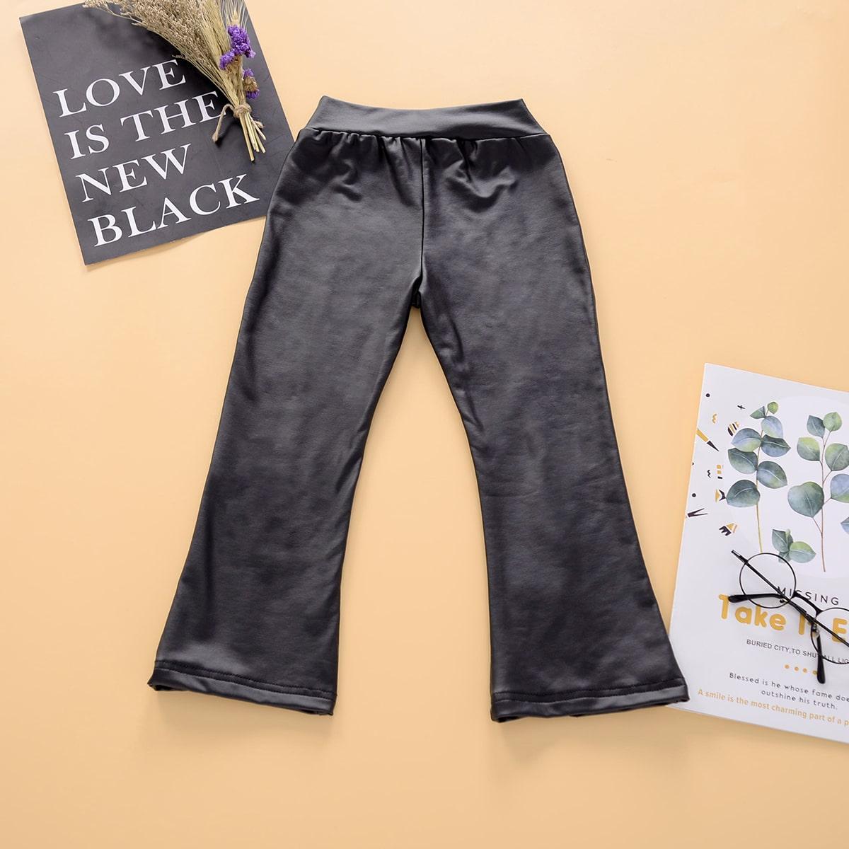 Расклешенные брюки из искусственной кожи для девочек