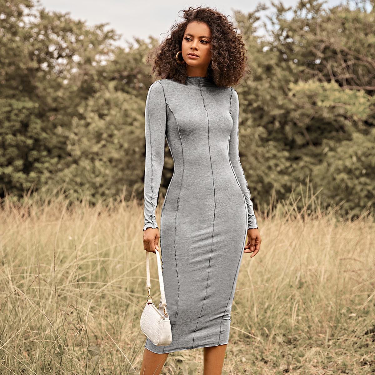 Платье с воротником-стойкой и волнистым краем