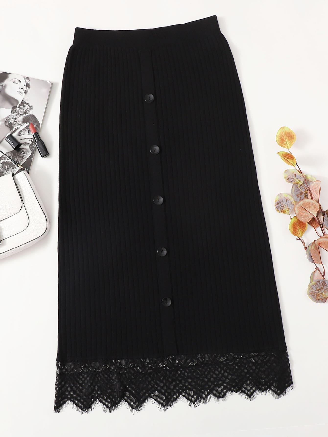 Plus Buttoned Front Lace Hem Knit Skirt thumbnail