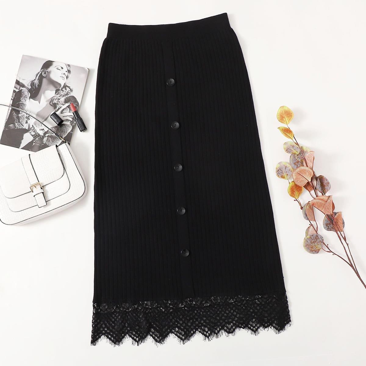 Трикотажная юбка размера плюс с пуговицами и кружевом