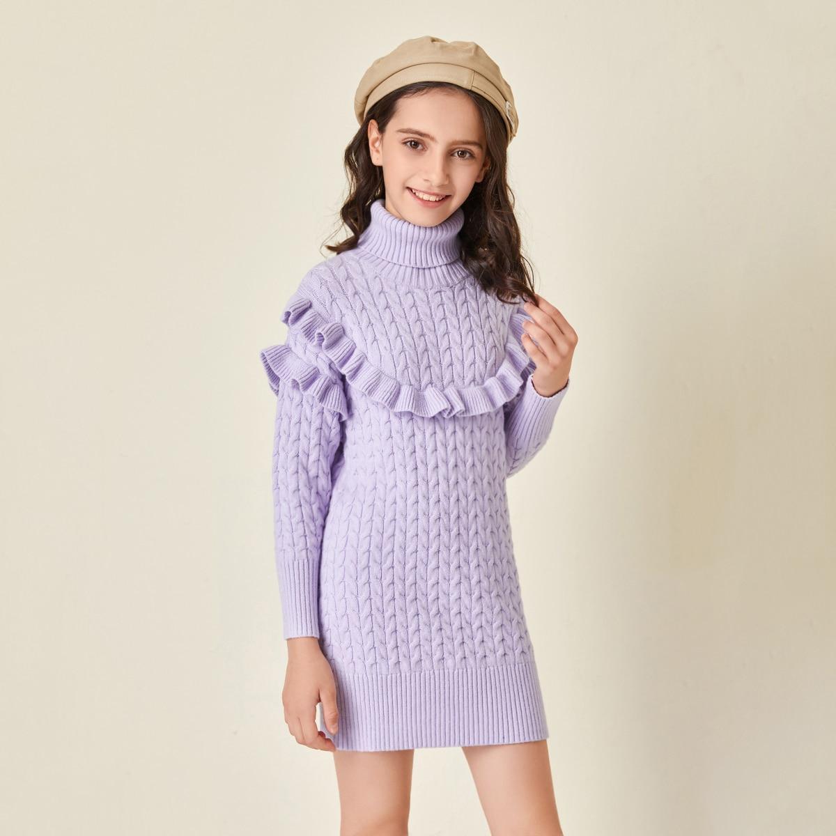 Трикотажное платье с высоким воротником для девочек