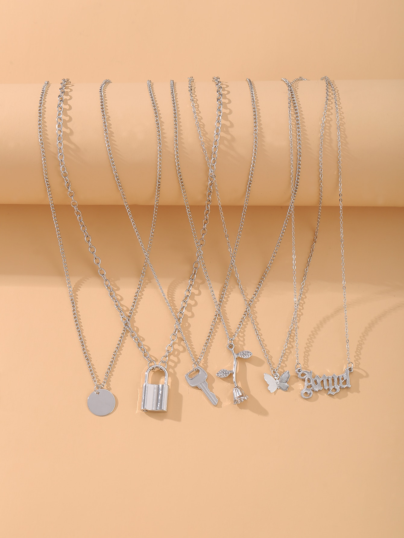6pcs Butterfly & Flower Charm Necklace thumbnail