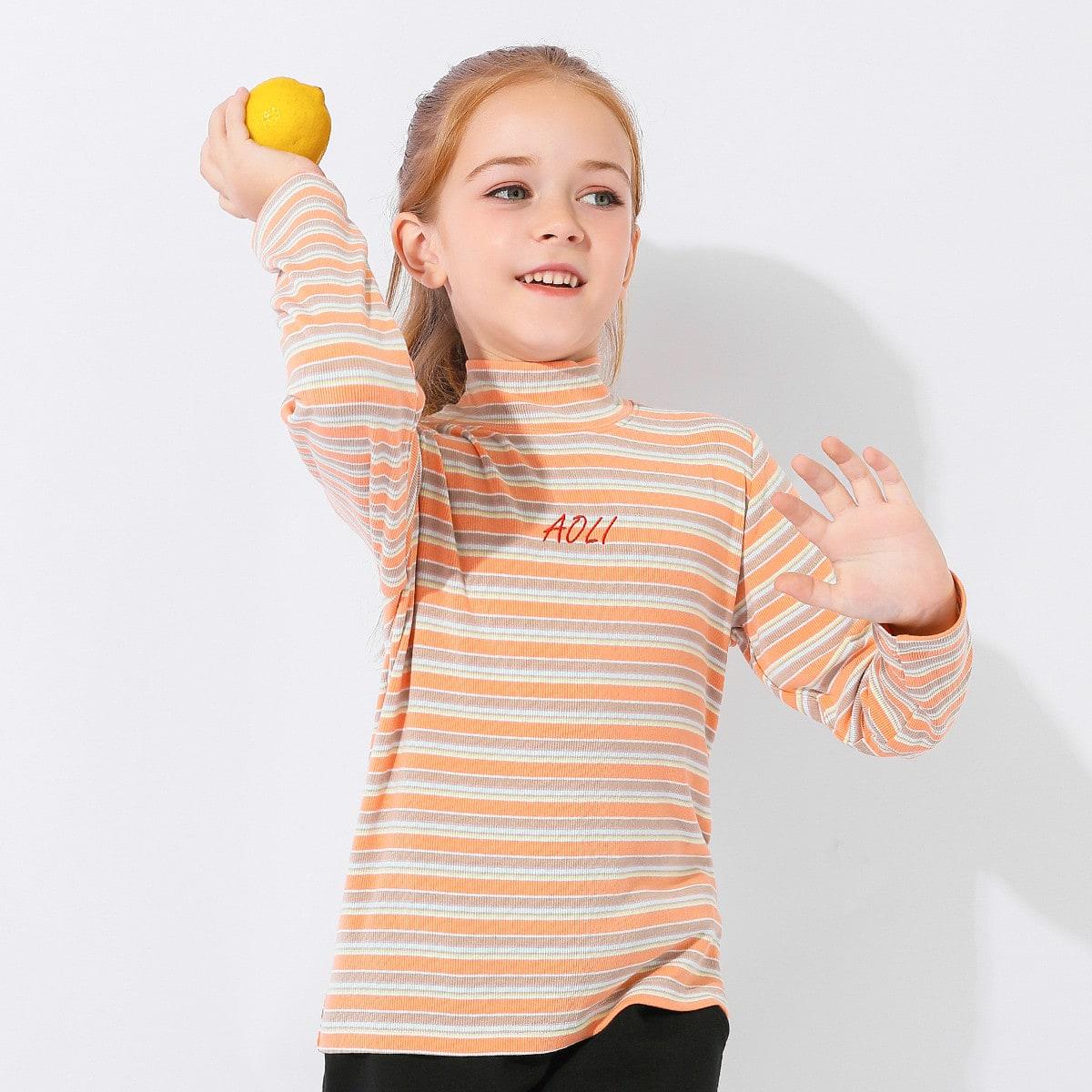 Вышивка полосатый повседневный футболки для девочек
