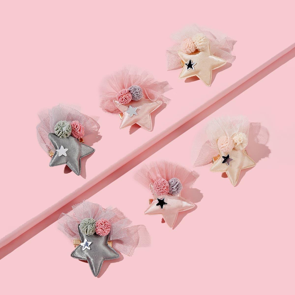 Зажим для волос со звездами для девочек 6шт