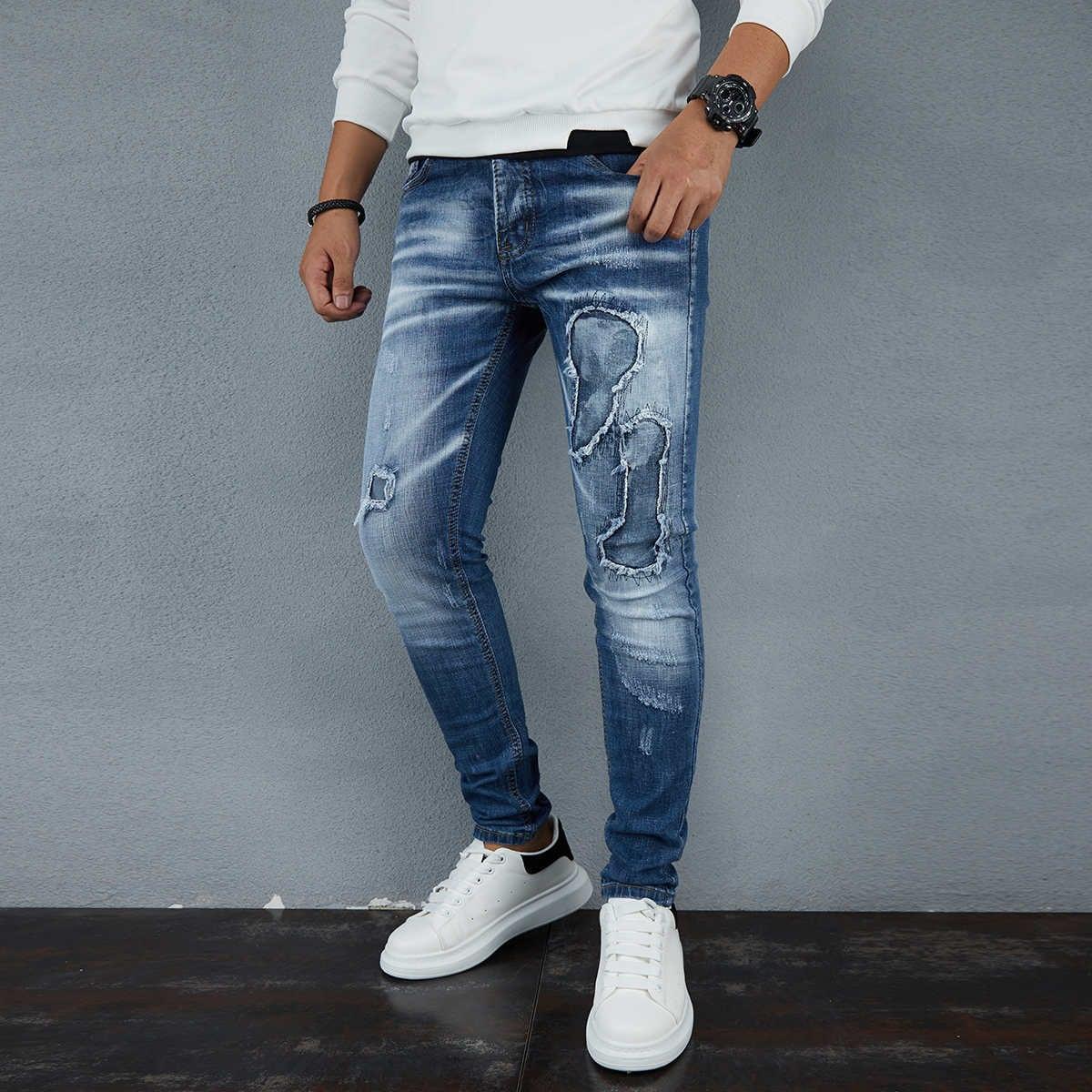 Разрезы повседневный мужские джинсы