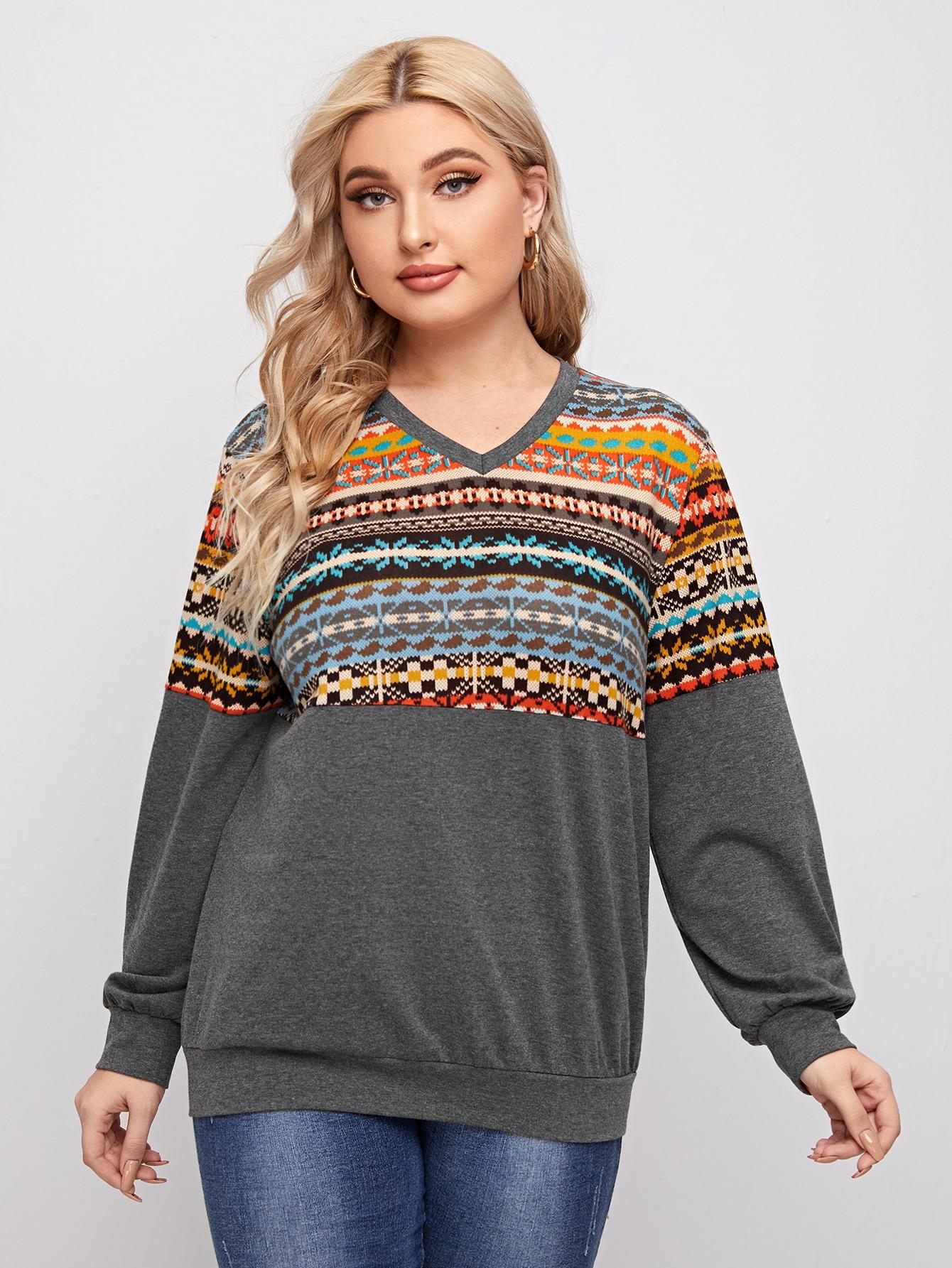 Plus V-neck Fair Isle Pattern Spliced Pullover thumbnail