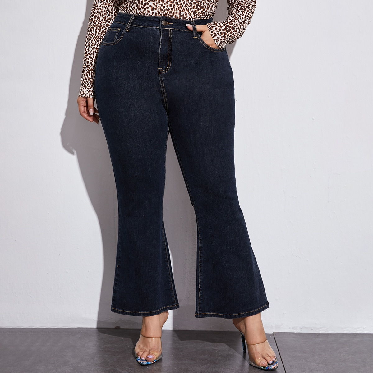 Plus High Waisted High Stretch Flare Leg Jeans
