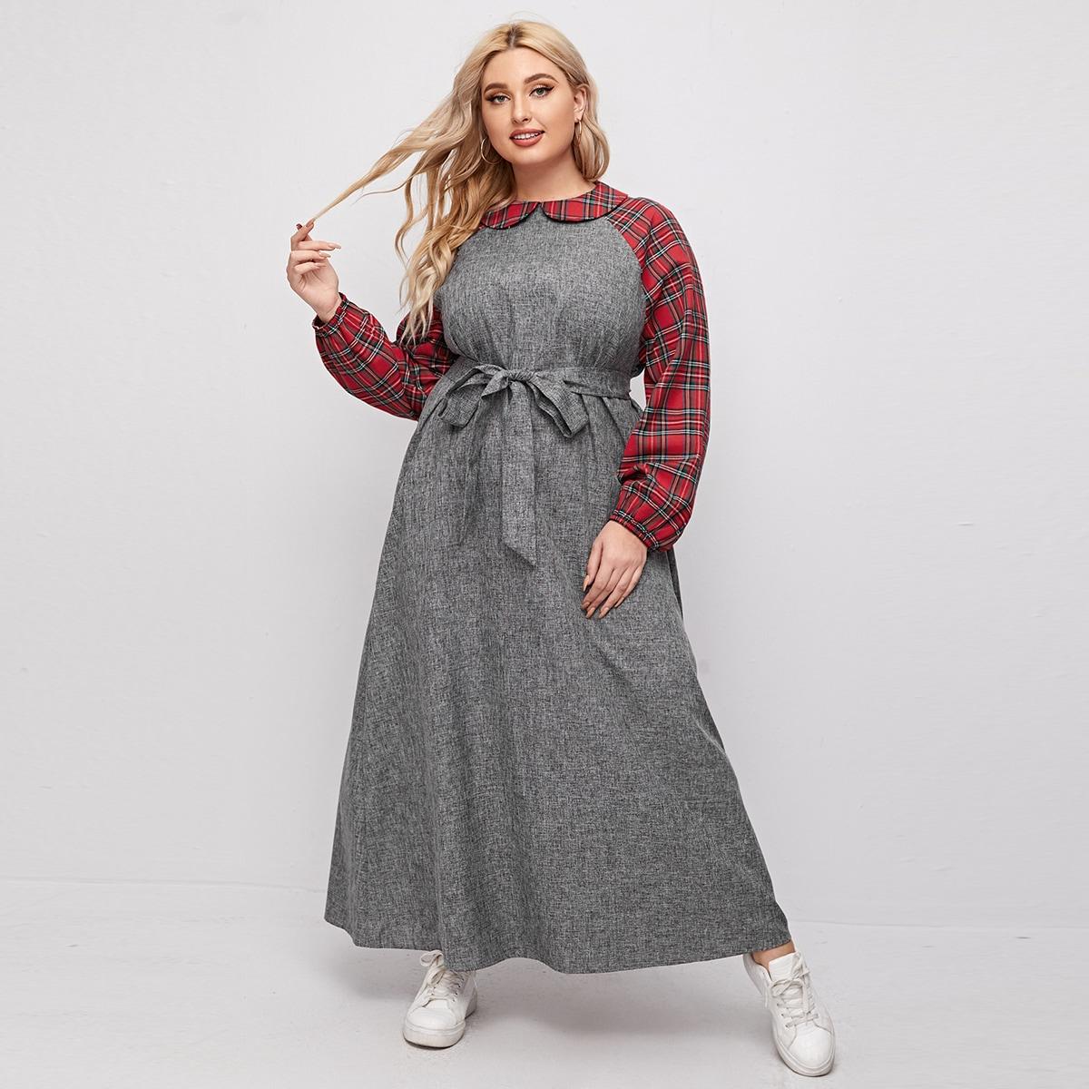 Оригинальное платье размера плюс с поясом