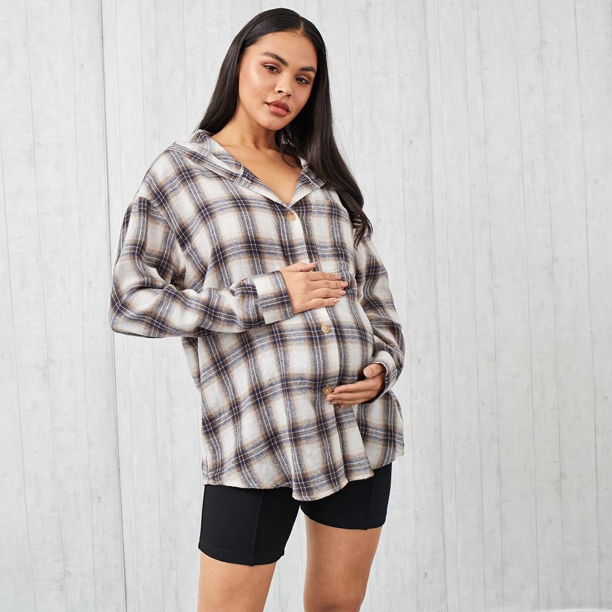 Карман в клетку повседневный блузы для беременных
