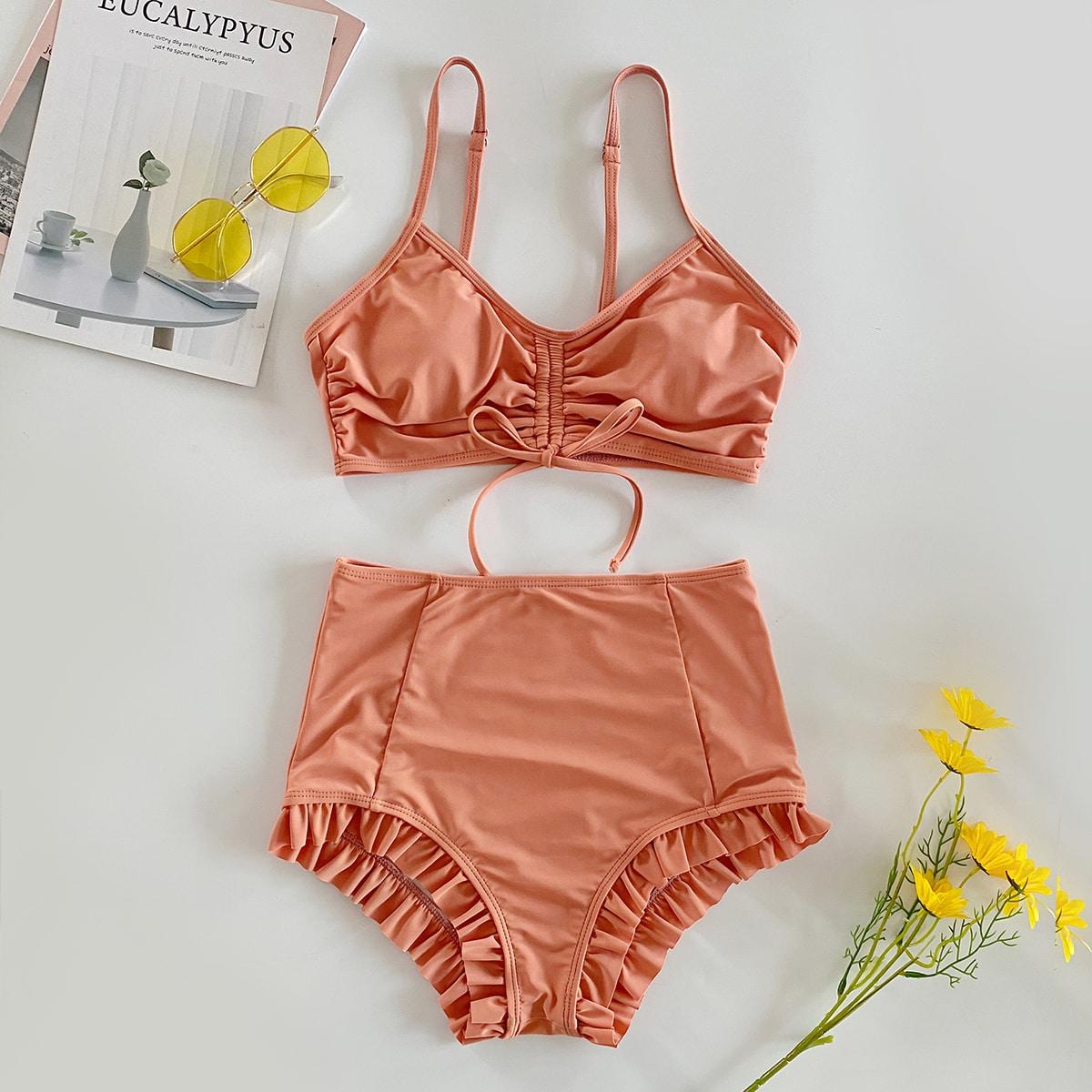 Ruched Drawstring Frill Trim Bikini Swimsuit