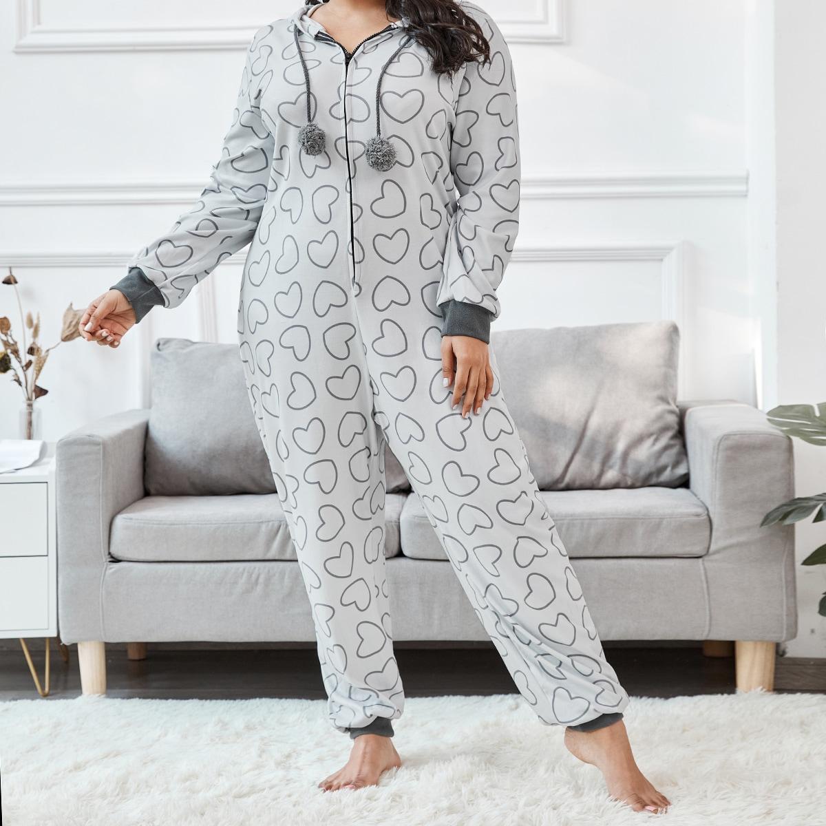 На молнии сердечко милый пижамный комбинезон размера плюс