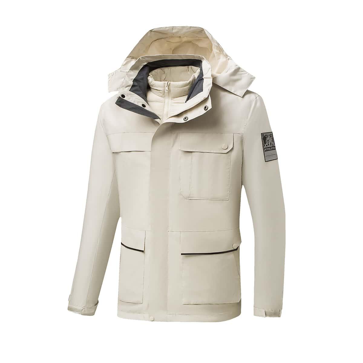 Мужская 3 в 1 водонепроницаемая куртка с капюшоном со съемной подкладкой