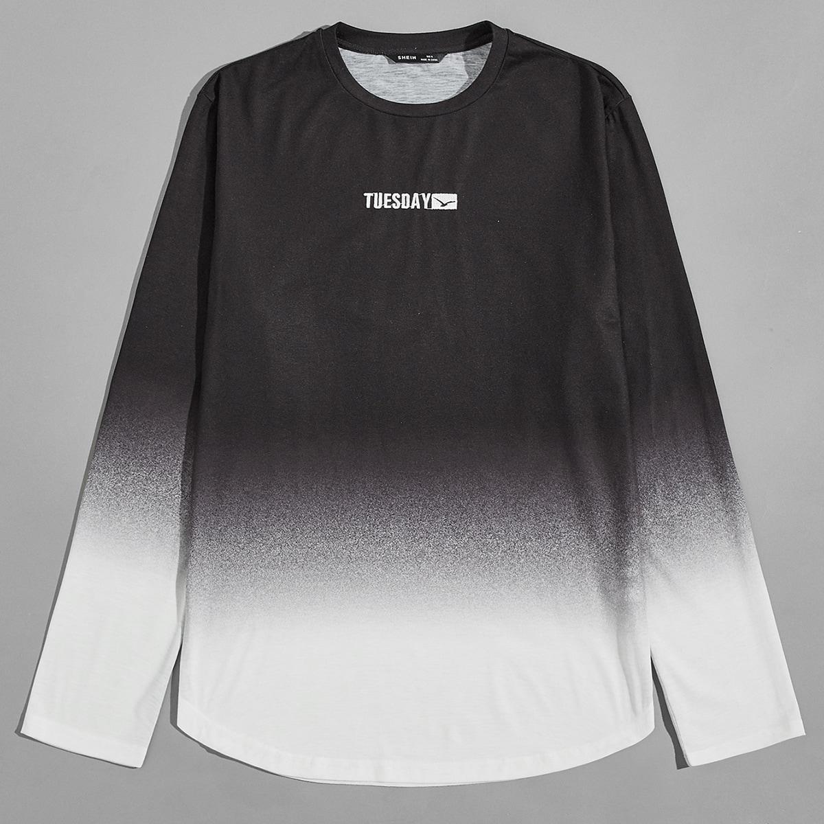 Мужская футболка с цветными блоками и вышивкой букв